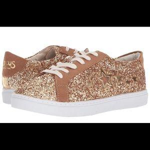 SAM EDELMAN Glitter Gold Sneaker Classic Sparkles